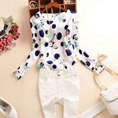 Autumn blusas y camisas mujer chiffon blouse plus size 6 size O-NECK shirt women blouses tops top quality