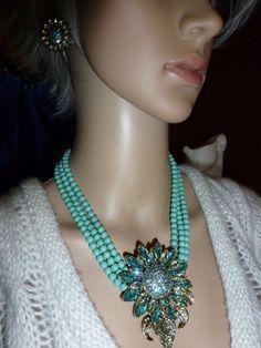 "Heidi Daus ""Divine Miss Daisy"" Turquoise Crystal 17-3/4""L Necklace  #HeidiDaus #Statement"