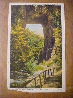 VA-NATURAL-BRIDGE-Looking-Up-Stream-W-E-BURGESS-SCOTTSVILLE-VA-Postcard