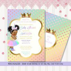 Rainbow Unicorn Little Princess Vintage Baby Unicorn Princess, Baby Girl Princess, Personalized Invitations, Digital Invitations, Shower Invitations, Glitter Water Bottles, Crystal Room, Baby Candy, African American Babies