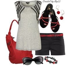 Black, Gray, and Red by dlp22 on Polyvore featuring H&M, Tory Burch and Linea Pelle