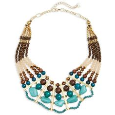 Nakamol Design Beaded Bib Necklace ($64) ❤ liked on Polyvore featuring jewelry, necklaces, polish jewelry, gold tone necklace, bead necklace, bohemian jewelry and wooden jewelry