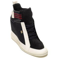 Tommy Hilfiger Colorblock Sneaker Wedge ($130) ❤ liked on Polyvore featuring shoes, sneakers, wedges shoes, tommy hilfiger shoes, wedge sneakers, high heel wedge sneakers and sports trainer