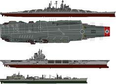 Kriegsmarine Aircraft Carrier and battleship by someone1fy.deviantart.com on @DeviantArt