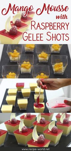 Mango Mousse With Raspberry Gelee Shots ♨ http://recipe-world.net/mango-mousse-with-raspberry-gelee-shots/?i=p