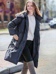 fe0c8d747424 Korean Down Coat Women Winter 2018 Minimalist Oversize Casual 90% White  Duck Down Solid Female