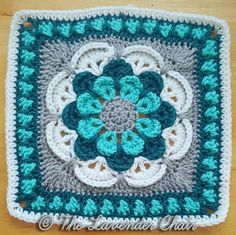 FREE - CROCHET - Cascading Daisy Mandala Square Crochet Pattern - The Lavender Chair ~ experienced level ~ size square Crochet Squares Afghan, Crochet Afghans, Granny Square Crochet Pattern, Crochet Blanket Patterns, Crochet Granny, Crochet Motif, Crochet Yarn, Crochet Stitches, Crochet Hooks