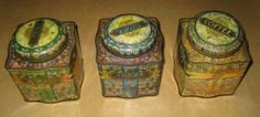 3x Dodo Canister Collectable tin boxes , Tea Sugar & Coffee Made In England Kent