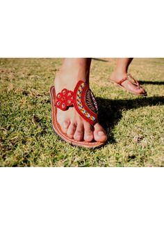 Red African Beaded Sandals Beaded Sandals, African Beads, Miller Sandal, Tory Burch, Flip Flops, Summer, Red, Women, Fashion