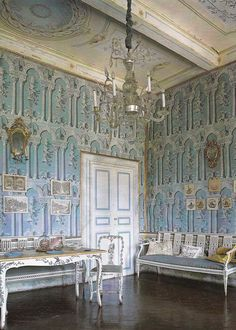 Blue room of Villa di Geggiano, near Siena Italy. Original trompe l'oeil wallpaper & furniture date to the 1770's