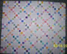 This little quiltlet is approx 27X33 and will be going to the Littlest Warrior Project. The 9-patches are 3 inches finished.
