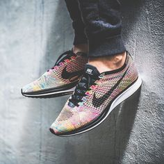 @allupinitt @knucklerkane coming in strong with this ultra fresh shot of the recently re-issued Multicolor Flyknit Racer find your size on klekt.in by klekt