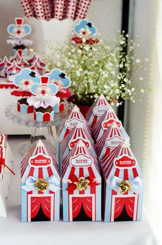Fun favor boxes at a circus birthday party! See more party planning ideas at CatchMyParty.com!