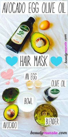 [ Quick And Easy Hairstyles For School : The Best Step By Step Tutorials For Homemade Hair Treatment For Damaged Hair - Avocado Egg and Olive Oil Hair Olive Oil Hair Mask, Egg Hair Mask, Egg For Hair, Hair Mask For Damaged Hair, Coconut Oil Hair Mask, Damaged Hair Repair, Hair Treatment At Home, Hair Growth Treatment, Easy Hairstyles For School