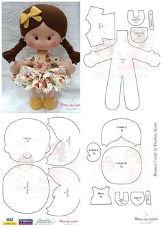 PDF doll body Cloth Doll Pattern PDF Sewing Tutorial+ Pattern Soft Doll Pattern sewing dolls, cloth doll, make a doll, make doll body Doll Crafts, Diy Doll, Sewing Crafts, Sewing Projects, Felt Doll Patterns, Felt Crafts Patterns, Sewing Stuffed Animals, Stuffed Toys Patterns, Sewing Dolls
