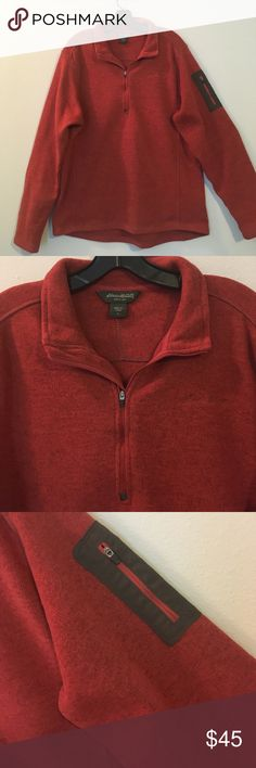 Thick Fleece Pullover Sport Long Sleeve Sweater So thick, soft and comfortable! This will be your go to for the coming winter months. Fleece interior and a marled burnt orange and brown detailing. In new condition with zero signs of wear. Eddie Bauer brand. Eddie Bauer Sweaters Zip Up
