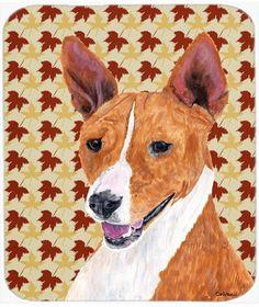 Basenji Fall Leaves Portrait Mouse Pad, Hot Pad or Trivet