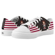 #Rag_Doll #Polka_Dots and #Stripes - #Personalized_Low-Top_Sneakers - Yeah, We Gots The Dots w/ this cool pair of ZIPZ® Low Top Sneakers! If you're dotty about Polka-Dots & have fond memories of your old Raggedy Doll, you'll love IconDoIt's original design, featuring dark red & white horizontal stripes bisected in 'Saddle Shoe' style w/a swath of white on black polka dots, topped w/a miniature Rag Doll. On the black back panel is a vertical text field for your name or caption (up to 9…