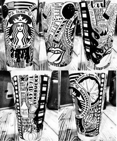 I actually reallyyyyy like however this looks Starbucks Cup Drawing, Starbucks Cup Design, Starbucks Art, Starbucks Coffee, Coffee Cup Art, High School Art Projects, White Cups, Doodle Art, Artsy Fartsy