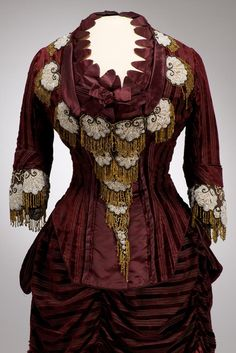 (VIEW 2 OF 2) Dress ca. 1875 From the Museum of Applied Arts Fripperies and Fobs LINK=>http://fripperiesandfobs.tumblr.com/post/91965831625/dress-ca-1875-from-the-museum-of-applied-arts