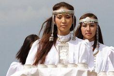 "Sakha-Yakut girls at festival ""Yshyak"""