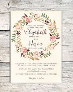 Watercolor Roses Floral Wreath Wedding Invitation by PrairiePix