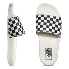 Offering ultimate comfort and all-day ease, the newly designed Checkerboard Slide-On sandal features an outsole made of ultra-durable, lightweight PU and a classic synthetic leather foot strap showcasing the classic Vans checkerboard print. Vans Slides, Cute Slides, Pool Slides, Sport Sandals, Women's Shoes Sandals, Women Sandals, Shoes Women, Vans Checkerboard, Latest Shoe Trends