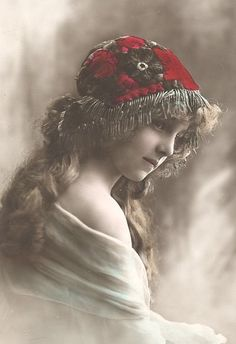 Vintage girl tinted photo postcard