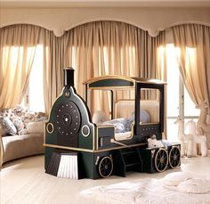 Absolutely love this train bed! Boy Room, Kids Room, Train Bedroom, Kids Bedroom Designs, Kid Beds, Home Decor Inspiration, Design Inspiration, Kids Furniture, Bedroom Decor