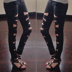 Carly Cristman in the Lattice Leg Skinny Jeans (http://www.nastygal.com/clothes-bottoms-pants/lattice-leg-skinny-jeans)