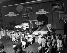 Ford's 50-millionth vehicle was made at the Dearborn Assembly Plant in Michigan on April 29, 1959. That car, a Ford Galaxie town sedan, joined a by a 1903 Model A in the background and a Levicar concept in the foreground.