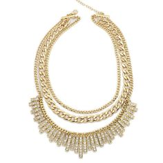 Pendant white Crystal Choker Chunky Statement Bib Gold Chain Layered Necklace