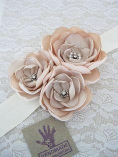 Blush Champagne Cream Bridal Sash belt