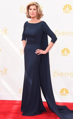 Christine Baranski from 2014 Emmys: Red Carpet Arrivals...Wow classic silhouette & look. Imagine this in bridal fabric with 'simple' embellishment. Let the fabric be the main focus. Ask your seamstress for fabric suggestions that fit your budget.