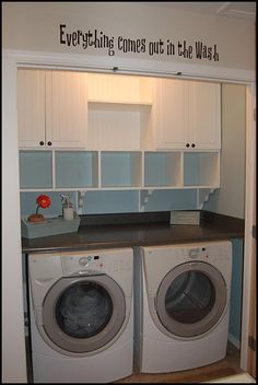 small laundry closet with built-in cubbies and cabinets, The Sparitarian - Home Decor Pin Laundry Room Organization, Laundry Room Design, Laundry In Bathroom, Laundry Area, Garage Laundry, Laundry Storage, Laundry Station, Laundry Center, Laundry Decor