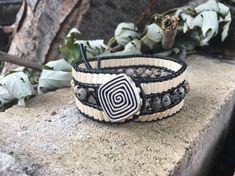 Women black leather Cuff Bracelet, beads and Dalmatian Jasper semi-precious stones. Boho Style, Boho Fashion, Bracelets, Leather, Etsy, Jewelry, Black Leather, Stones, Unique Jewelry