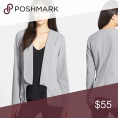 """Harlowe & Graham open front peplum blazer From Nordstroms. Worn once, no condition issues. From their website: Extended lapels and a neatly folded peplum hem that lays longer at the sides lend a quietly modern aesthetic to this exquisite jacket. No closure. 100% polyester. By Harlowe and Graham. Length from shoulder is about 26"""". Armpit to armpit flat is about 18"""". Slightly darker gray than the stock pics. Nordstrom Jackets & Coats Blazers"""