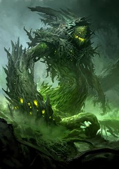 An enormous monster formed entirely of gnarled roots snaked up out of the earth. Its misshapen head had no eyes or features of any kind except for a gaping mouth of deadly, bloodstained fangs. Arms of twisted roots extended from a dense, tangled torso, which spiraled downward and held fast to the base of the giant oak. [Fate's Fables excerpt. traemitchell.com] Art by Kekai Kotaki