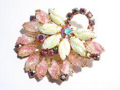 Vintage Pink Art Glass Aurora Borealis Rhinestone Brooch Pin 60s (45.00 USD) by darsjewelrybox