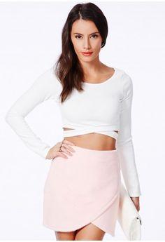 decb5d9b7eada4 Missguided - Chara Bandage Waist Crop Top In White Crop Tops Online