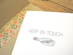 Keep In Touch Card. Message in a Bottle. Funny Miss You Card. Mint