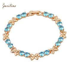 Top Quality gold plated Blue cubic zirconia Bracelets & bangles fashion jewelry 17cm 6.69 inch B160