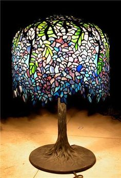 tiffany wisteria lamp museum quality bronze tree base leaded glass ebay