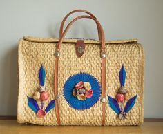 vintage 1970s straw tote / 70s beach bag / Acapulco Beach Bag