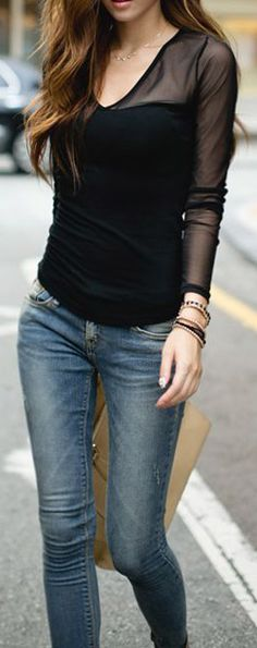 Long Sleeves Solid Color Voile Stitching Plunging Neck Casual T-Shirt ($5.74)