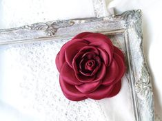Flower Hair Clips, Flowers In Hair, Dance Accessories, Hair Accessories, Gold Leaf Crown, Birthday Favors, Burgundy Color, Camellia, Flower Brooch