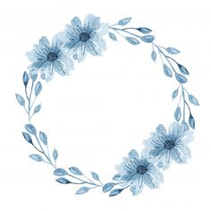 Watercolor indigo floral wreath with twig, flowers, branch and abstract leaves Free Vector Flower Background Wallpaper, Flower Backgrounds, Flower Branch, Flower Frame, Halloween Yarn Wreath, Wreath Drawing, Christmas Embroidery, Wreath Tutorial, Instagram Highlight Icons