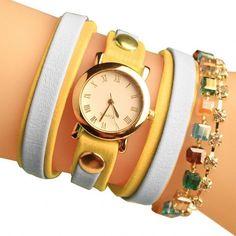 Fashion Wrap Around Rhinestone Chain Synthetic Leather Bracelet Quartz Wrist Watch