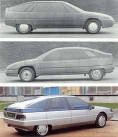 OG | 1989 Citroën XM - Y30 project | in-house full scale models (here proposals from Carrières-sur-Seine)