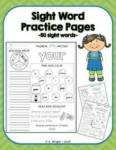 Sight Word Practice Pages ~ 50 More Sight Words